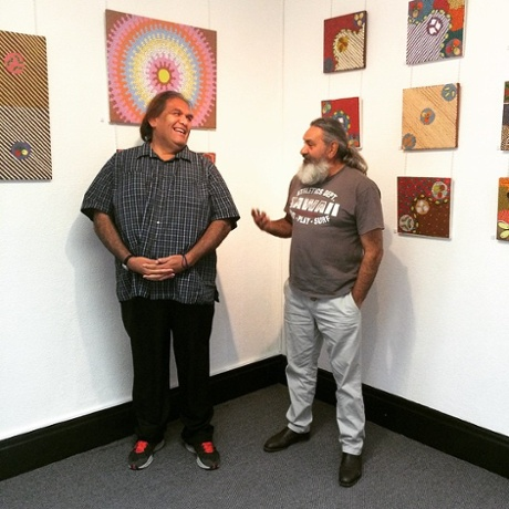 Aaron Perkins-Kemp-Berger (left), the manager of Albury's Central Desert art gallery, with owner-curator Sam Juparulla Wickman.
