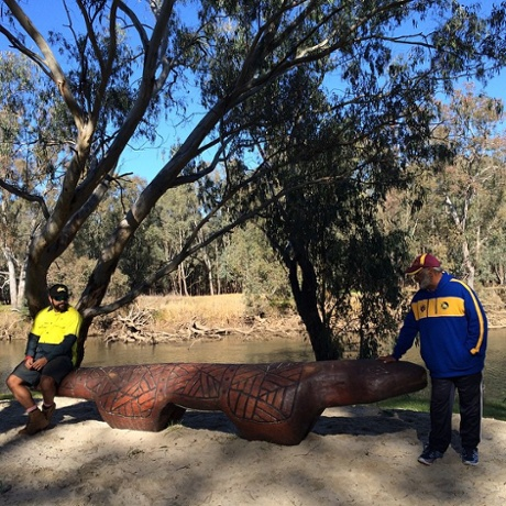Uncle Curtis and Uncle Tony lead tours along the Yindyamarra sculpture walk in Albury.