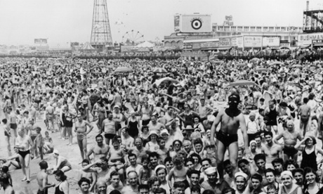 5th July 1942:  A crowded beach of New York's Coney Island.