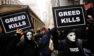 Occupy Wall Street demonstrators, Zuccotti Park, New York, 17 Nov 2011.