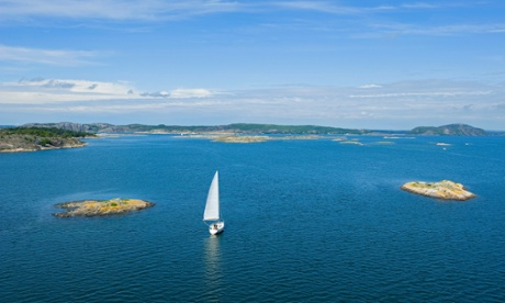 Fjord with sailing boat close to Marstrand