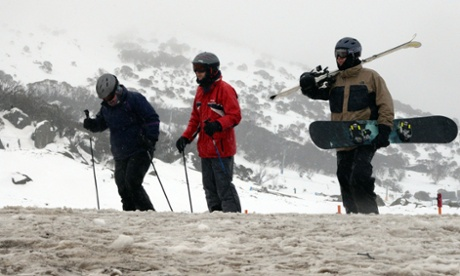 Snowboarders and skiiers in the Snowy Mountains in August 2015.