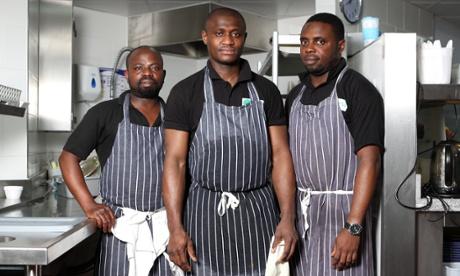 Kitchen porters at The Ivy, from left: Kwadjo Ohemeng, Peter Ofori, Femi Olaitan.