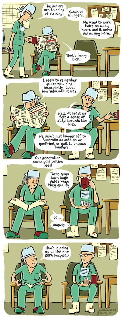 Junior NHS doctors have it easy now, or do they? - cartoon | Life and style  | The Guardian