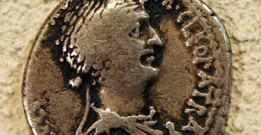 Roman coin showing Cleopatra