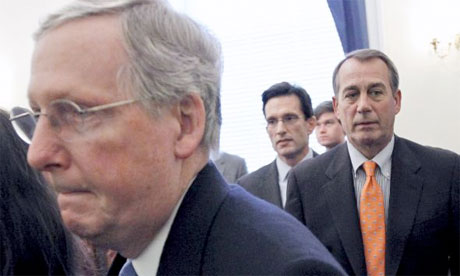 Senate Republican Leader Mitch McConnell of Ky., House Majority Leader-elect Eric Cantor of Va., and House Speaker-designate John Boehner of Ohio, leave a news conference, on Capitol Hill in Washington Tuesday, Nov. 30, 2010, where they talked about their meeting at the White House with President Obama. (AP Photo/Alex Brandon)