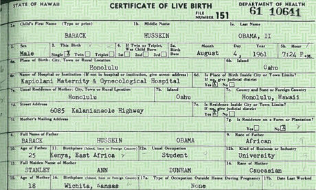 Barack Obama's birth certificate