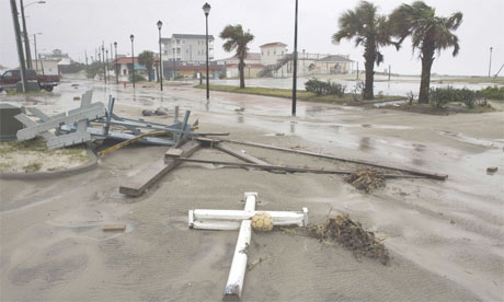 Debris on the beachfront in North Carolina, hit by Hurricane Irene