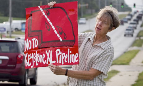 A protester in Nebraska against the Keystone XL oil pipeline, 2010