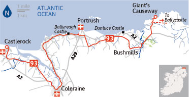 Cycling map: Castlerock to Giant's Causeway