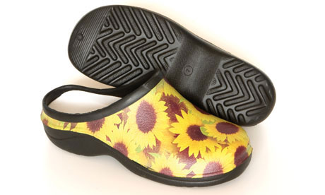 A pair of Backdoorshoes in the sunflower design