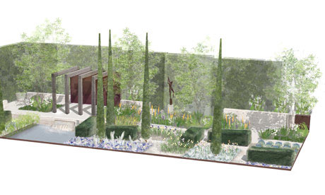A graphic of the 2013 Chelsea flower show Laurent-Perrier garden