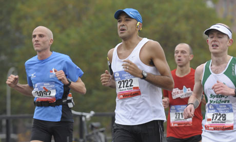 Marcus Ryder feeling very much a cultural minority during the Amsterdam marathon