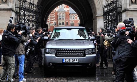 Rupert Murdoch departs the Leveson Inquiry