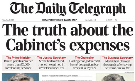 Telegraph cabinet expenses front page