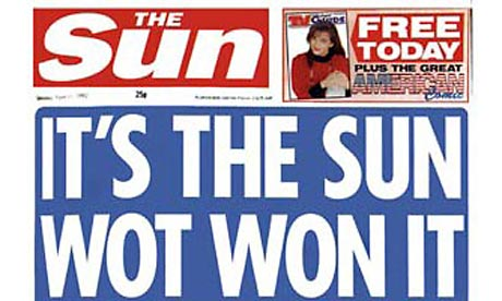 The Sun's 1992 'It's the Sun wot won it' front page