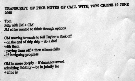 Transcript of Julian Pike call to Tom Crone
