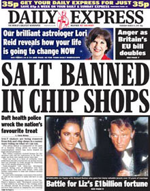 Daily Express 'chip shop' headline