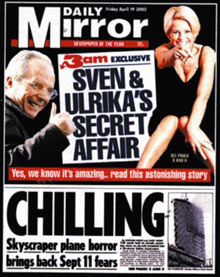 Daily Mirror: Sven-Goran Eriksson and Ulrika Jonsson front page