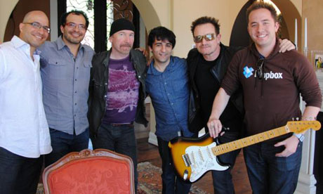 U2's Bono and the Edge with Dropbox founders