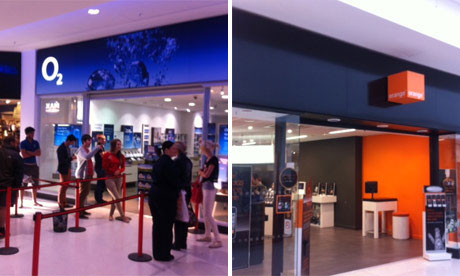 The fronts of Orange and O2 stores