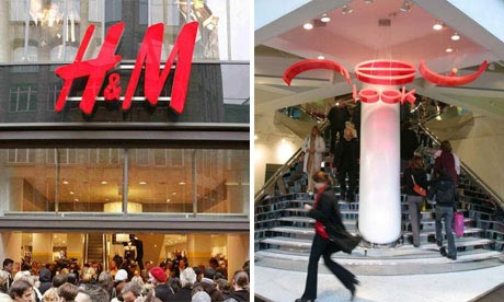 Store fronts of H&M and New Look