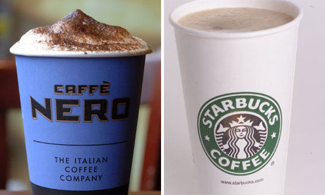 Caffe Nero and Starbucks cups of coffee
