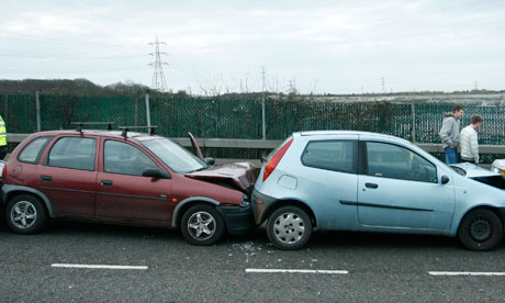 Cars that have crashed into one another