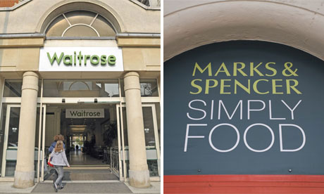 Shop fronts of Waitrose and M&S Simply Food