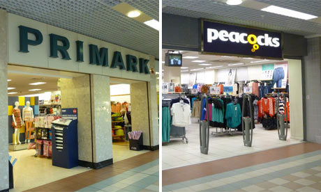 Shop fronts of Primark and Peacocks in Hartlepool