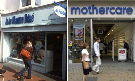 Shop fronts of Mothercare and JoJo Maman Bebe