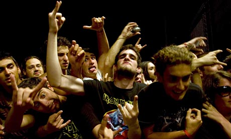 Fans of the British heavy metal band Iron Maiden
