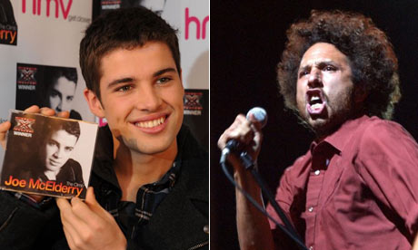 Joe McElderry and Zack de la Rocha of Rage Against the Machine