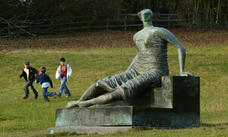 Draped Sitting Woman in bronze by Henry Moore Yorkshire Sculpture Park
