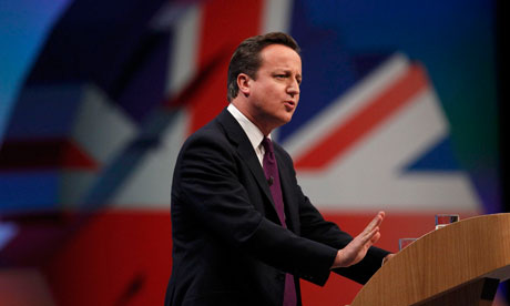 David Cameron delivers his keynote address at the Conservative party conference