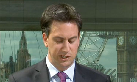 BBC News screengrab of Ed Miliband giving a speech on the NHS on 7 June 2011