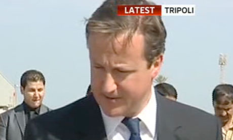 Screengrab from Sky News showing David Cameron in Libya
