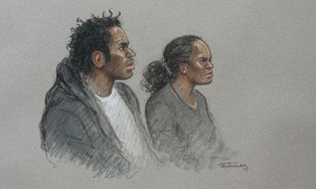 Court artist's drawing Eric Bikubi and Magalie Bamu