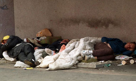 Homeless people sleeping on the streets of London