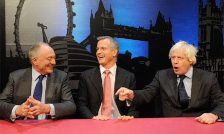 Candidates for London's mayoral elections, from left Ken Livingstone, Brian Paddick and Boris Johnson