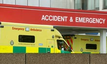 Ambulances outside the Accident and Emergency department
