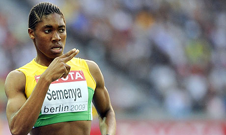 Caster Semenya gestures as she wins the 800m semi-final at the World Championships in Berlin