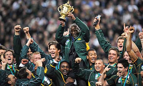 South Africa celebrate after winning the 2007 Rugby World Cup final