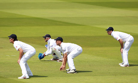 A general view of the slip cordon with Alastair Cook, Matt Prior, Jonathan Trott and Andrew Strauss