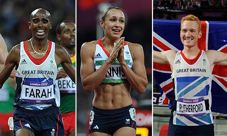 Mo Farah, Jessica Ennis, and Greg Rutherford