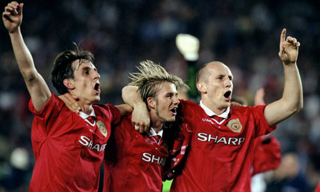 Gary Neville, David beckham and Jaap Stam