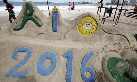 A sand sculpture on a Rio beach in support of hosting the 2016 Olympics.