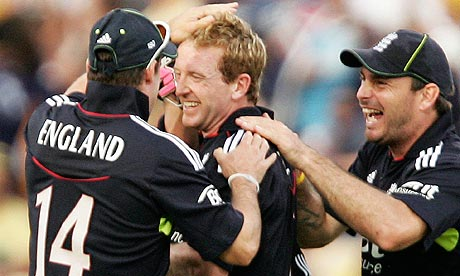 England's Paul Collingwood celebrates