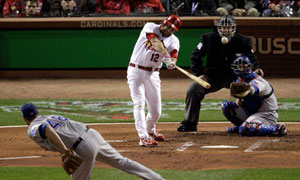 Lance Berkman scores for St Louis in World Series Game One
