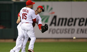World Series: Matt Holliday and Rafael Furcal of the St. Louis Cardinals collide